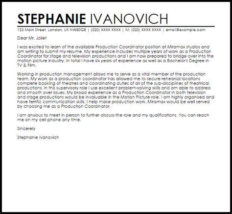 production coordinator cover letter sample livecareer