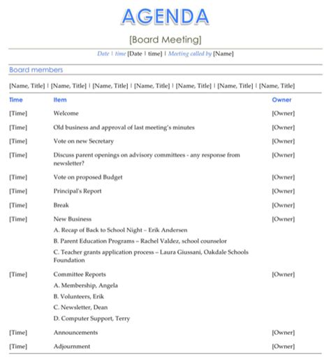 board meeting agenda template for excel pdf and word