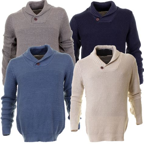 blue knitted jumper mens mens mo casual shawl neck one button neck knitted jumper