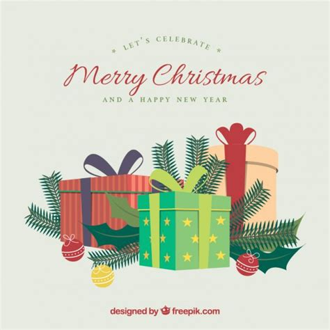 merry gifts background vector free