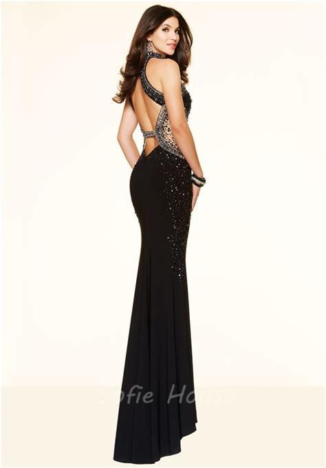 black beaded prom dress slim mermaid high neck open back black beaded evening