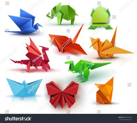 origami paper set set origami butterfly crane frog elephant stock vector