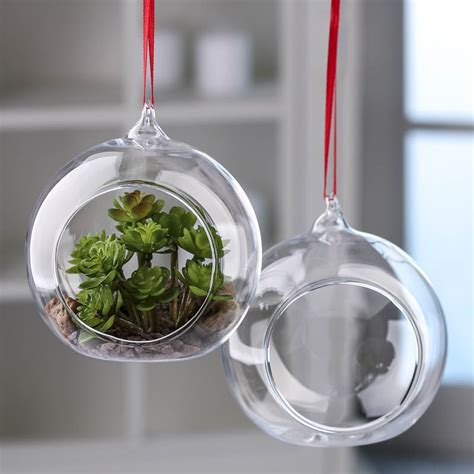 glass ornaments crafts clear glass side opened terrarium ornaments