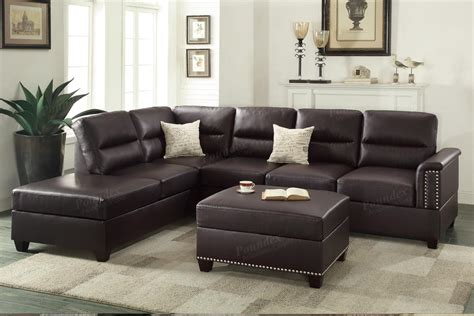 brown leather sofa sectional poundex rousey f7609 brown leather sectional sofa
