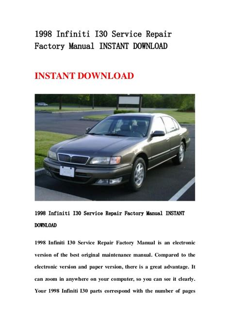 service manual 1998 infiniti i repair manual download 1997 1998 2001 infiniti qx4 workshop