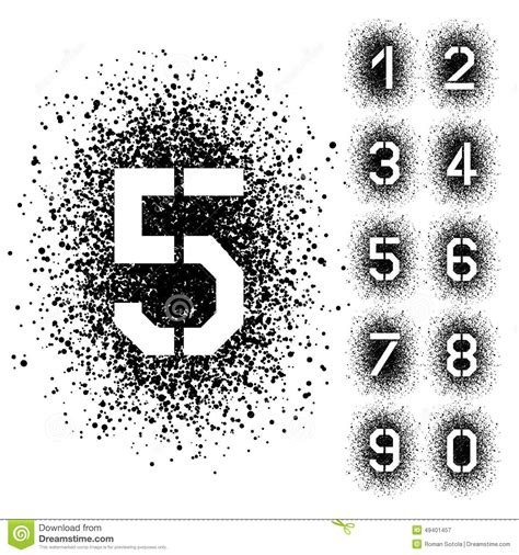 spray paint font numbers spray stencil angular font numbers stock vector image