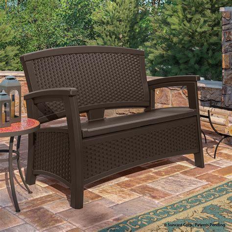 suncast patio furniture suncast elements loveseat with storage java outdoor