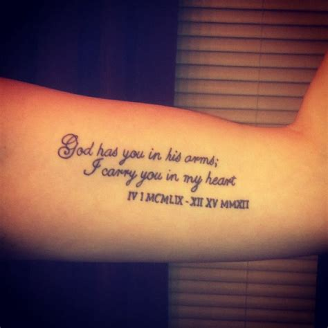 god has you in his arms i carry you in my heart tattoo