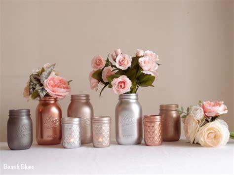 gold decor blush gold wedding decor centerpiece metallic jars