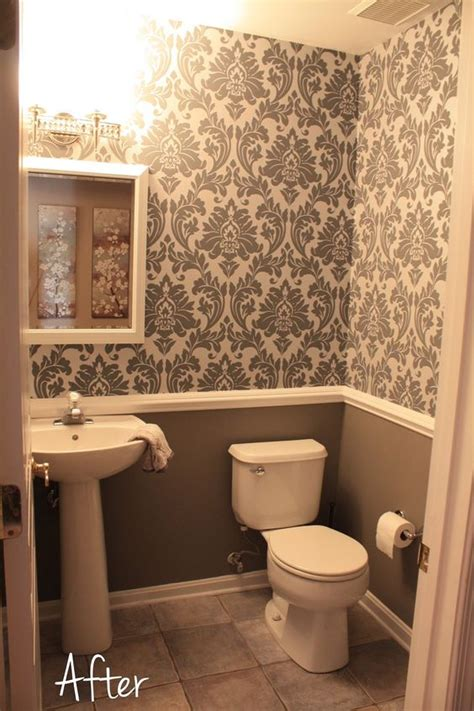 wallpaper in bathroom ideas small downstairs bathroom like the wallpaper and chair rail idea mostly gray with a bit of