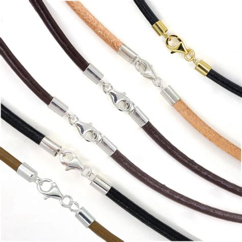 leather cord for jewelry sterling silver 3mm genuine leather cord necklace