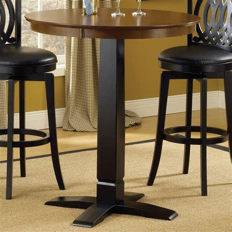 Black Leather Swivel Bar Stools by Dynamic Design Wood Bistro Pub Table In Brown Cherry