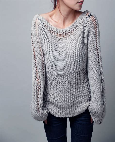 custom knit knit sweater eco cotton sweater in light grey
