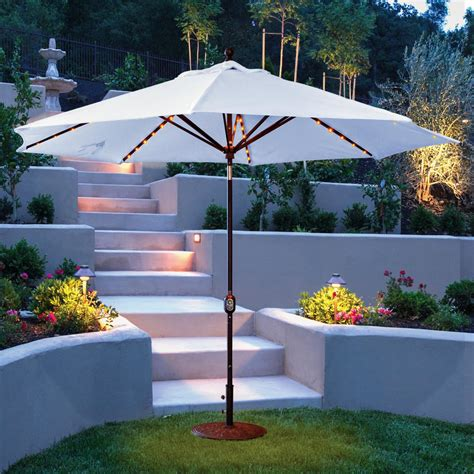 galtech patio umbrellas galtech 11 ft aluminum patio lighted umbrella with crank