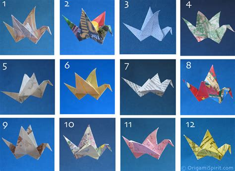 origami types 12 types of found paper to fold an origami bird which is