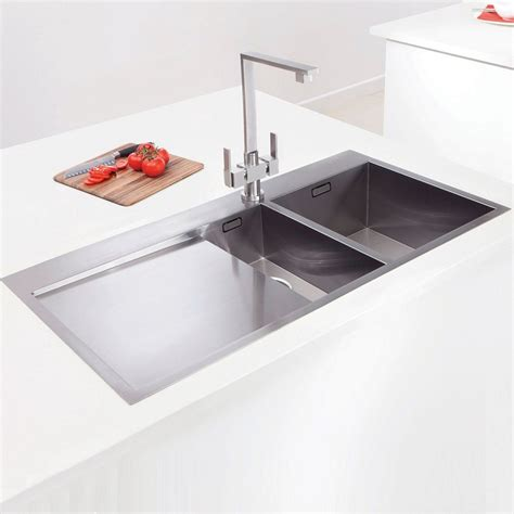 inset kitchen sinks caple cubit 150 one and a half bowl stainless steel inset