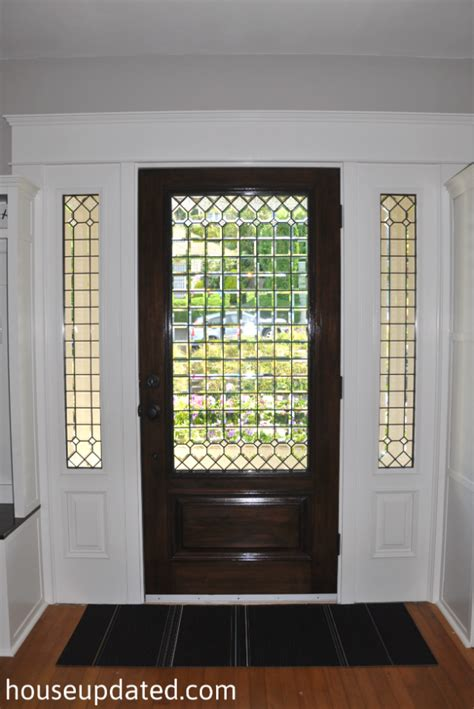 stained glass for front doors front door stained and trimmed house updated