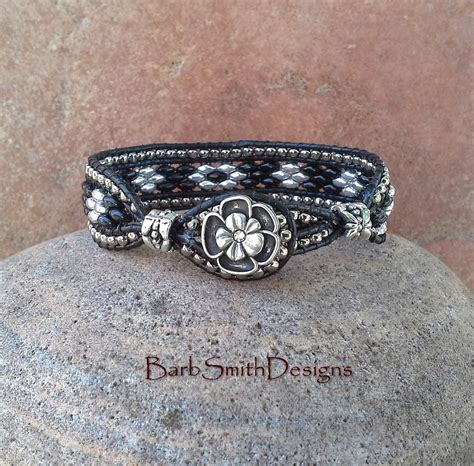 leather beaded bracelet black silver beaded leather bracelet duo the