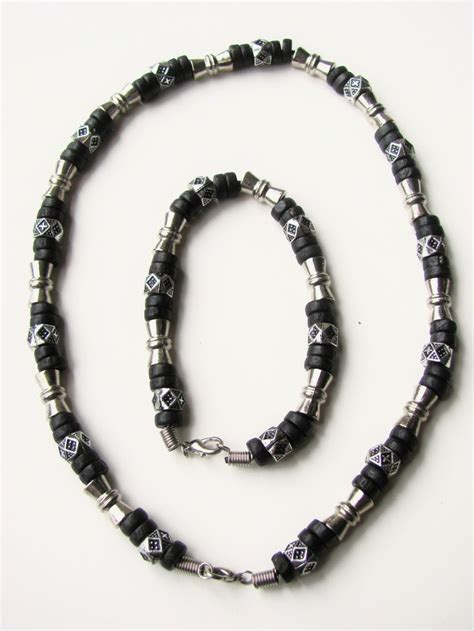mens beaded necklaces salem black surfer style beaded necklace bracelet s