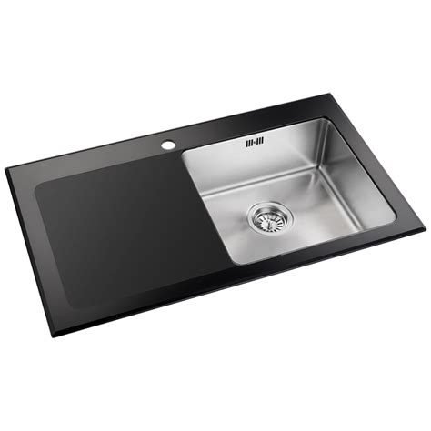 glass sinks for kitchens astini celso 1 0 bowl black glass kitchen sink waste