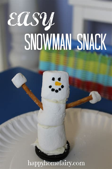 winter food crafts for easy snowman snack happy home