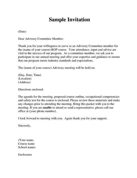 how to write a invitation how to write a formal invitation letter for a meeting