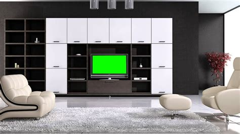 free living room set tv in living room in green screen free stock footage