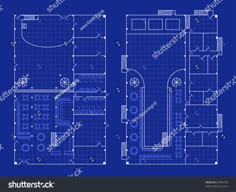 blueprint layout floorplan for a nightclub with stage and bar in blueprint