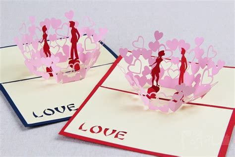 3d origami card 3d valentines day cards paper fold greeting laser card