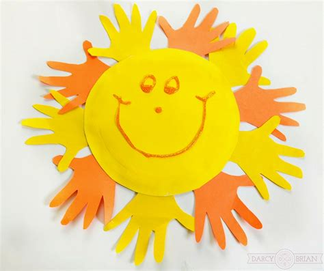 sun craft for and easy handprint sun paper plate craft for