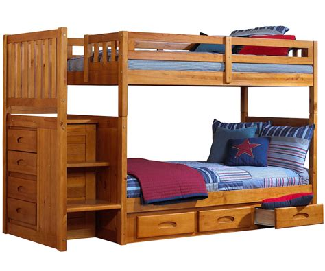 bunk beds with stairs ridgeline honey mission staircase bunk bed bed frames