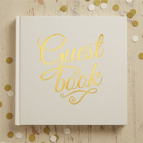 guest book picture ivory and gold foiled wedding guest book by