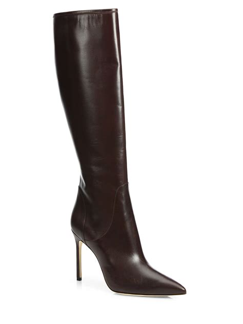 leather knee high boots for manolo blahnik hanzuotal leather knee high boots in brown lyst