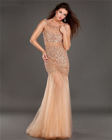 backless beaded prom dress mermaid bateau neck cut out backless chagne tulle