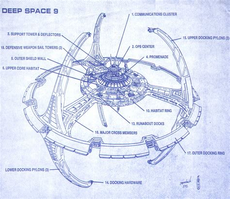 blueprint drawing trek blueprints space nine concept drawings