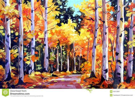 acrylic paint on canvas drying time sk 246 nhet av autumn forest akryl p 229 kanfasm 229 lning stock