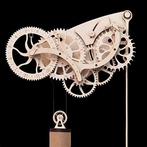 woodworking clock kits wooden mechanical clock kit thinkgeek