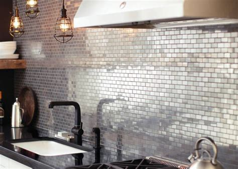 metal kitchen backsplash popular metal tile backsplash the homy design