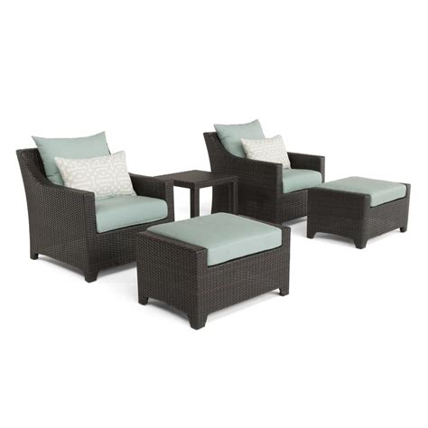patio chair and ottoman set rst brands deco 5 all weather wicker patio club