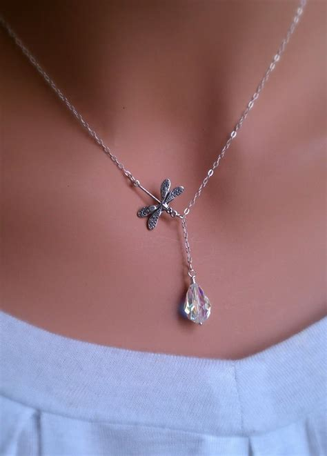 how to make swarovski jewelry dragonfly in the sterling silver lariat necklace with
