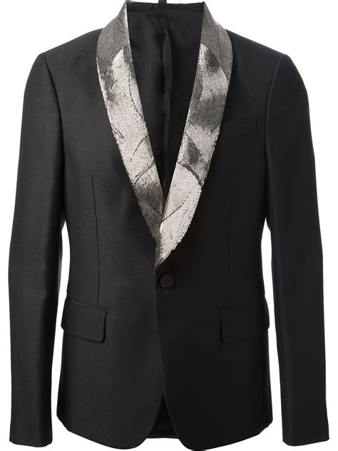 beaded blazer roberto cavalli beaded tuxedo blazer in black for lyst