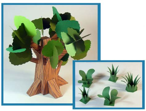 tree paper craft papercraft dino mini world trees and grass
