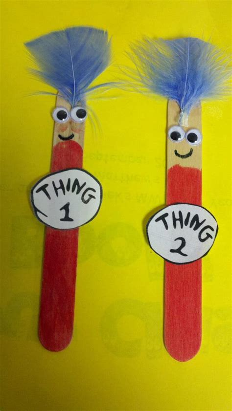 dr seuss crafts thing 1 and thing 2 popsicle stick bookmarks great for