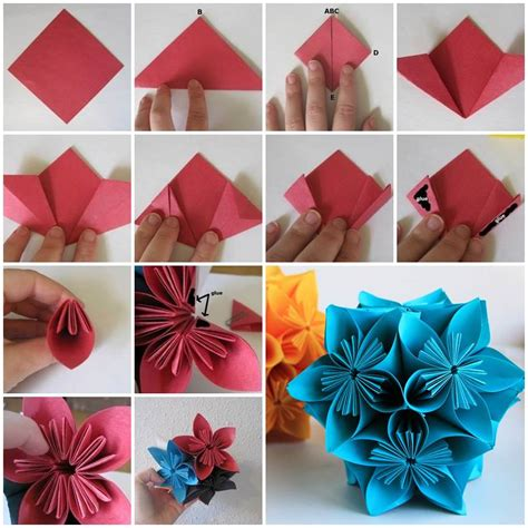 how to make craft paper flowers creative ideas diy vintage origami kusudama