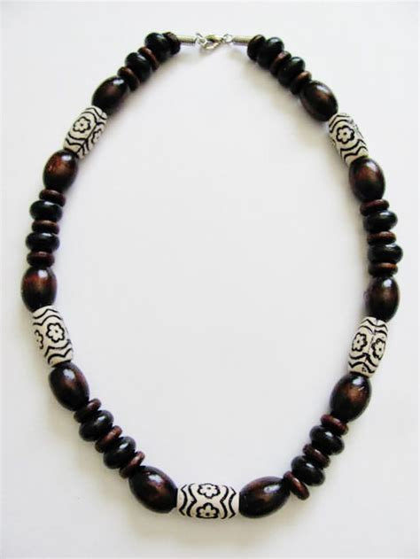 mens bead necklaces large brown wooden bead surfer necklace s unisex
