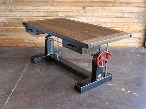 vintage industrial desk crank desk vintage industrial furniture
