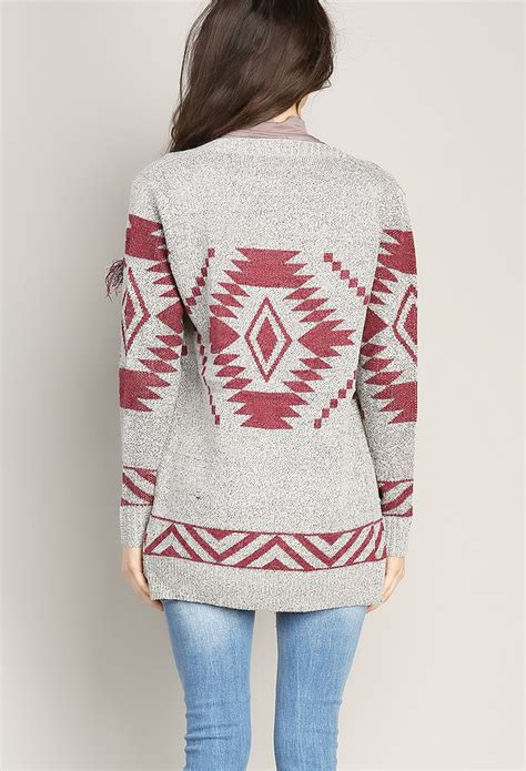 aztec knitting pattern aztec pattern knit cardigan shop sweaters cardigans at