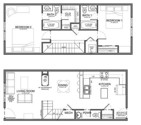 Center Hall Colonial Open Floor Plan very narrow unit plans for apartments townhomes and
