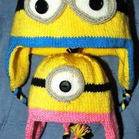 free knitted minion hat pattern knitted minion look alike hat mitts knitting