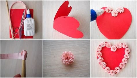 how to make shaped cards diy valentines day cards tutorial paper flowers glue